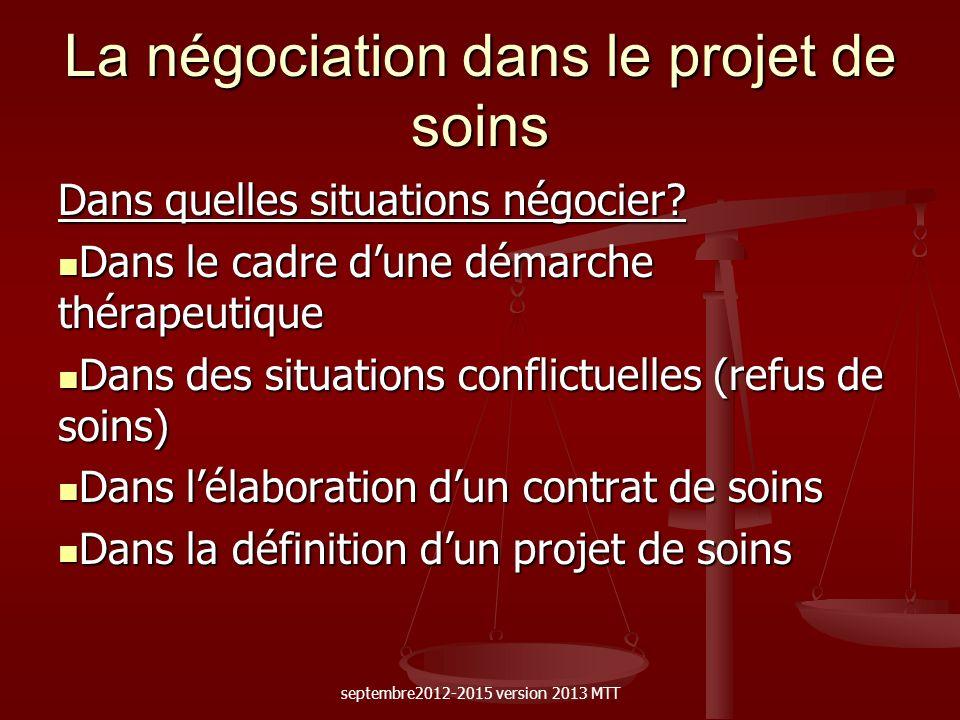 La négociation dans le projet de soins Dans quelles situations négocier? Dans le cadre dune démarche thérapeutique Dans le cadre dune démarche thérape