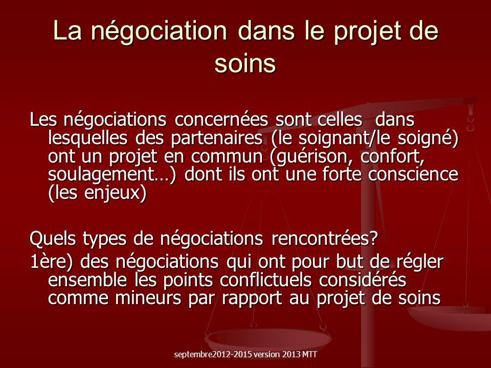 La négociation dans le projet de soins Les négociations concernées sont celles dans lesquelles des partenaires (le soignant/le soigné) ont un projet e