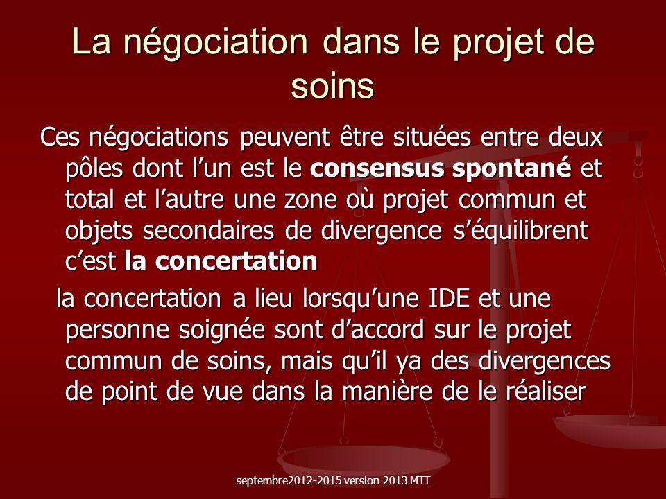 La négociation dans le projet de soins Ces négociations peuvent être situées entre deux pôles dont lun est le consensus spontané et total et lautre un