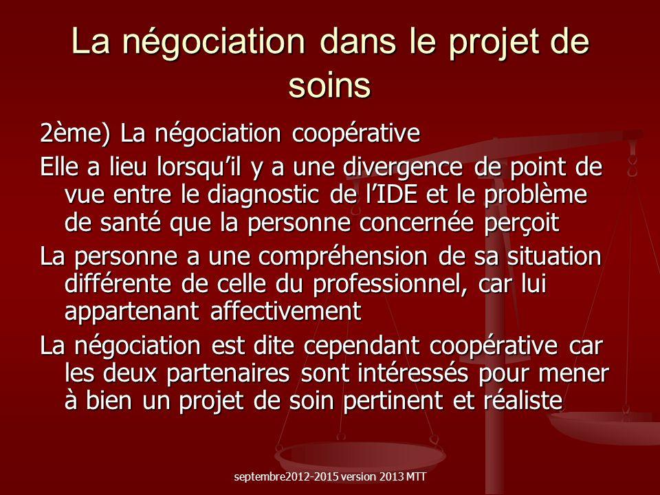 La négociation dans le projet de soins 2ème) La négociation coopérative Elle a lieu lorsquil y a une divergence de point de vue entre le diagnostic de