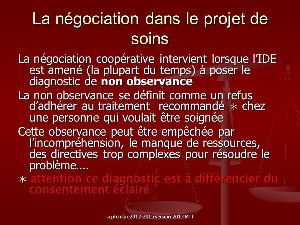 La négociation dans le projet de soins La négociation coopérative intervient lorsque lIDE est amené (la plupart du temps) à poser le diagnostic de non