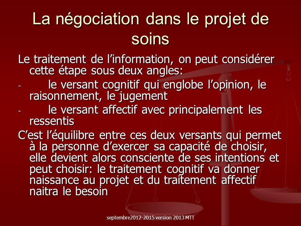La négociation dans le projet de soins Le traitement de linformation, on peut considérer cette étape sous deux angles: - le versant cognitif qui englo