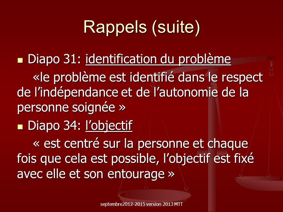 Rappels (suite) Diapo 31: identification du problème Diapo 31: identification du problème «le problème est identifié dans le respect de lindépendance