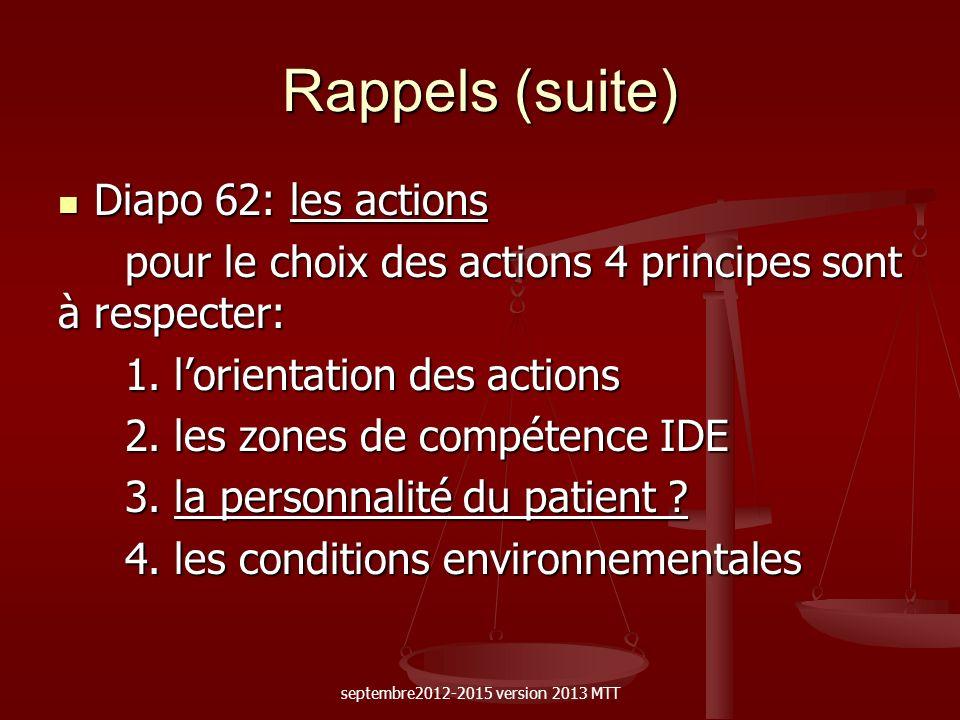 Rappels (suite) Diapo 62: les actions Diapo 62: les actions pour le choix des actions 4 principes sont à respecter: pour le choix des actions 4 princi