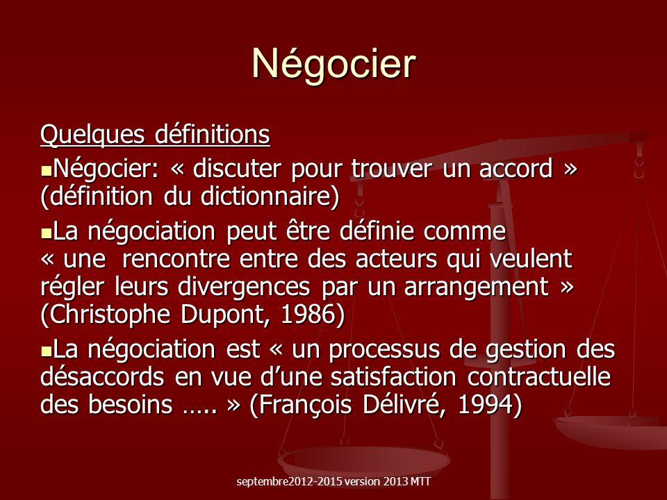 Négocier Quelques définitions Négocier: « discuter pour trouver un accord » (définition du dictionnaire) Négocier: « discuter pour trouver un accord »