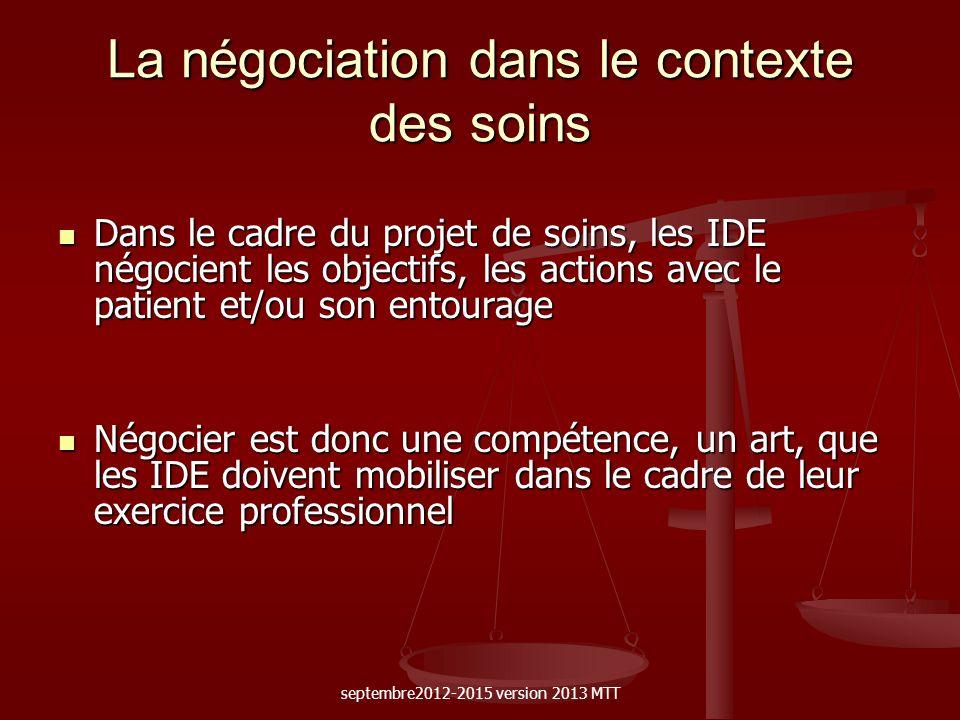 La négociation dans le contexte des soins Dans le cadre du projet de soins, les IDE négocient les objectifs, les actions avec le patient et/ou son ent