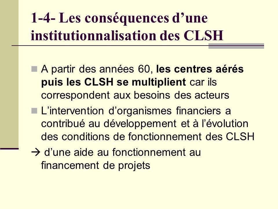 1-4- Les conséquences dune institutionnalisation des CLSH A partir des années 60, les centres aérés puis les CLSH se multiplient car ils correspondent aux besoins des acteurs Lintervention dorganismes financiers a contribué au développement et à lévolution des conditions de fonctionnement des CLSH dune aide au fonctionnement au financement de projets