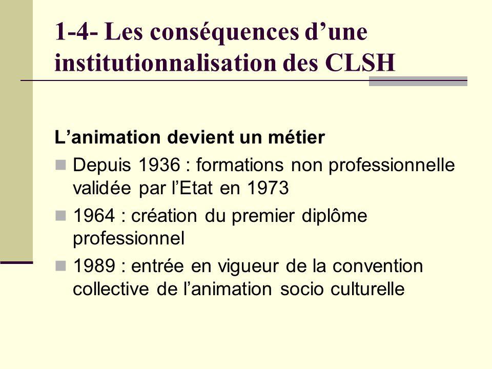 1-4- Les conséquences dune institutionnalisation des CLSH Lanimation devient un métier Depuis 1936 : formations non professionnelle validée par lEtat