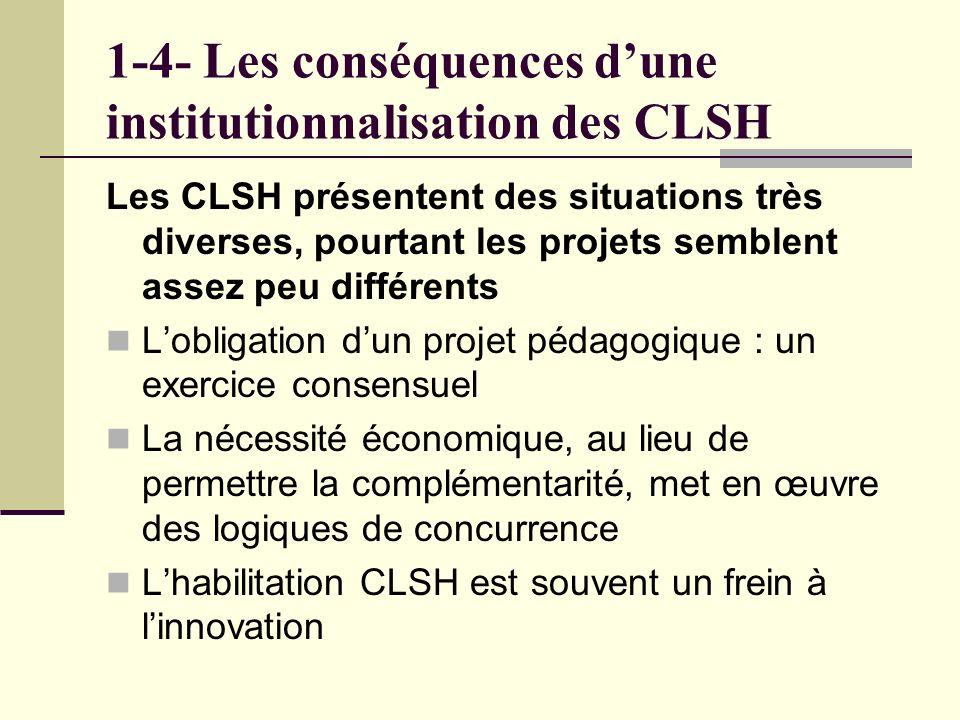 1-4- Les conséquences dune institutionnalisation des CLSH Les CLSH présentent des situations très diverses, pourtant les projets semblent assez peu différents Lobligation dun projet pédagogique : un exercice consensuel La nécessité économique, au lieu de permettre la complémentarité, met en œuvre des logiques de concurrence Lhabilitation CLSH est souvent un frein à linnovation