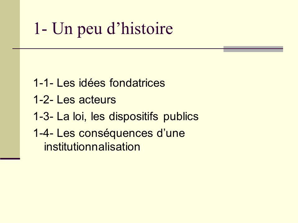 1- Un peu dhistoire 1-1- Les idées fondatrices 1-2- Les acteurs 1-3- La loi, les dispositifs publics 1-4- Les conséquences dune institutionnalisation