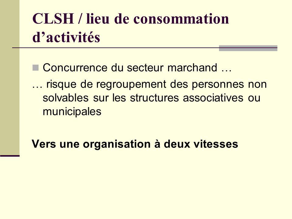 CLSH / lieu de consommation dactivités Concurrence du secteur marchand … … risque de regroupement des personnes non solvables sur les structures associatives ou municipales Vers une organisation à deux vitesses