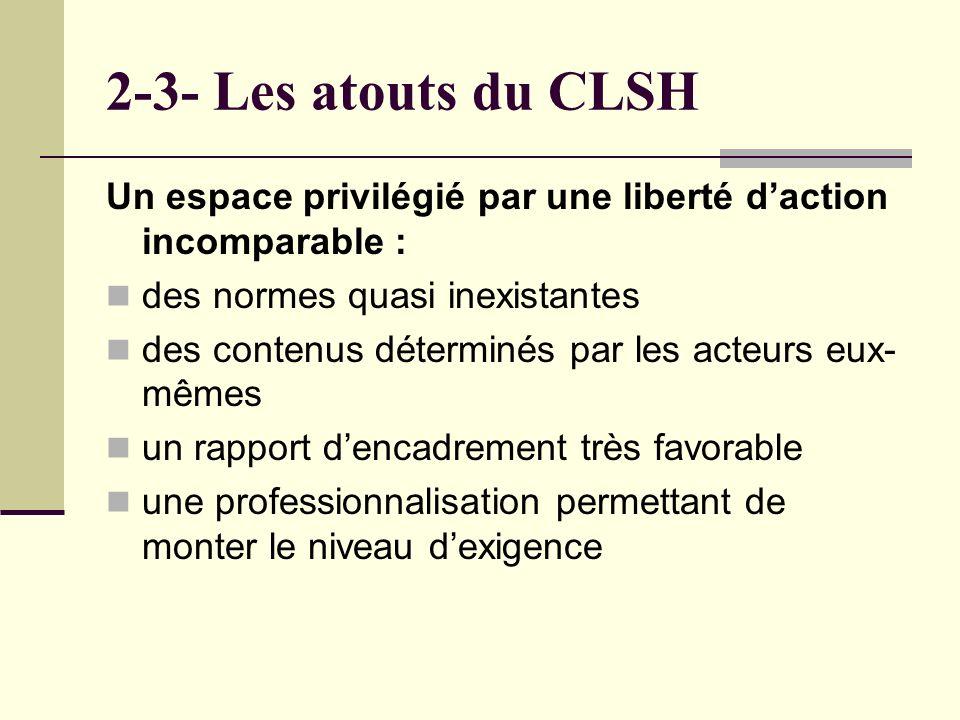 2-3- Les atouts du CLSH Un espace privilégié par une liberté daction incomparable : des normes quasi inexistantes des contenus déterminés par les acteurs eux- mêmes un rapport dencadrement très favorable une professionnalisation permettant de monter le niveau dexigence