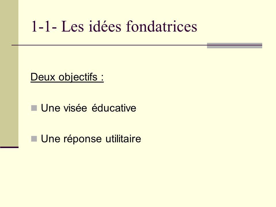 1-1- Les idées fondatrices Deux objectifs : Une visée éducative Une réponse utilitaire