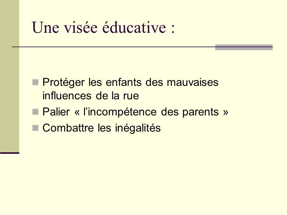 Une visée éducative : Protéger les enfants des mauvaises influences de la rue Palier « lincompétence des parents » Combattre les inégalités
