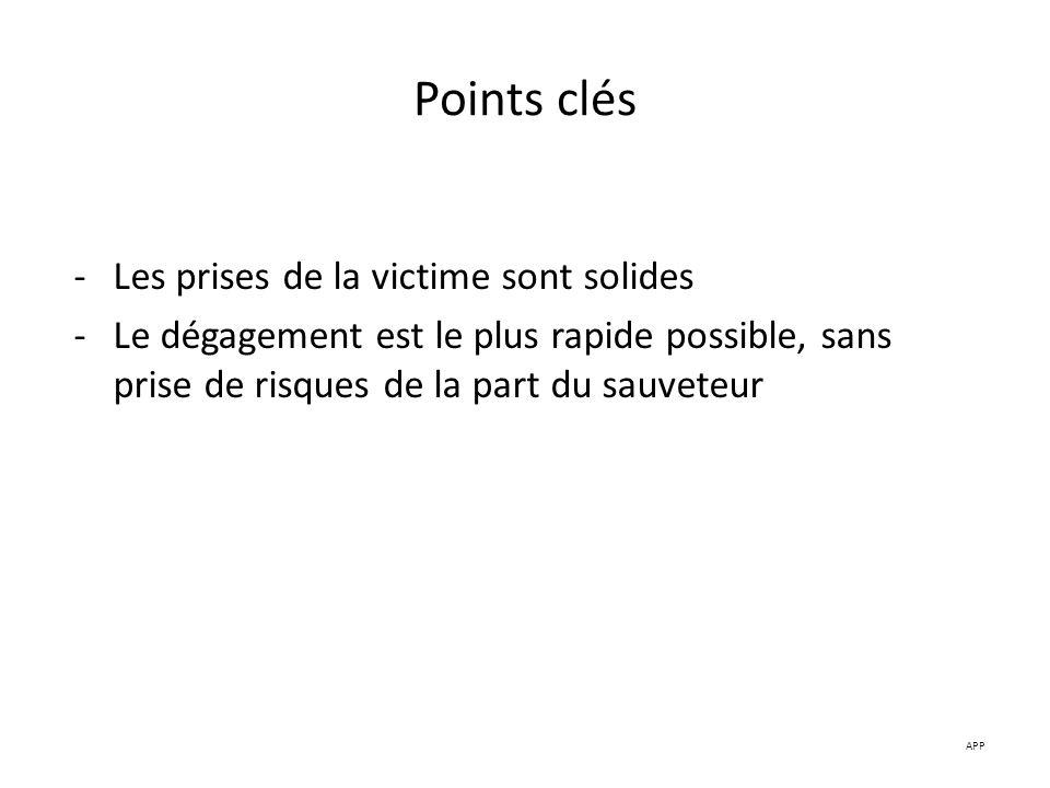 Points clés -Les prises de la victime sont solides -Le dégagement est le plus rapide possible, sans prise de risques de la part du sauveteur APP