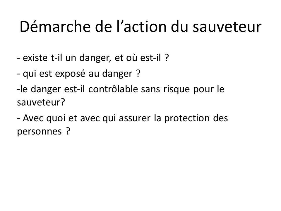 Démarche de laction du sauveteur - existe t-il un danger, et où est-il ? - qui est exposé au danger ? -le danger est-il contrôlable sans risque pour l