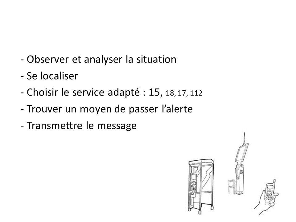 - Observer et analyser la situation - Se localiser - Choisir le service adapté : 15, 18, 17, 112 - Trouver un moyen de passer lalerte - Transmettre le