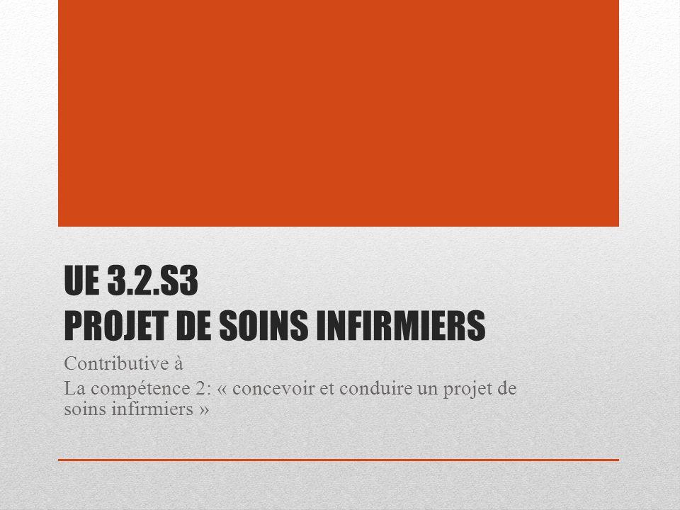 UE 3.2.S3 PROJET DE SOINS INFIRMIERS Contributive à La compétence 2: « concevoir et conduire un projet de soins infirmiers »