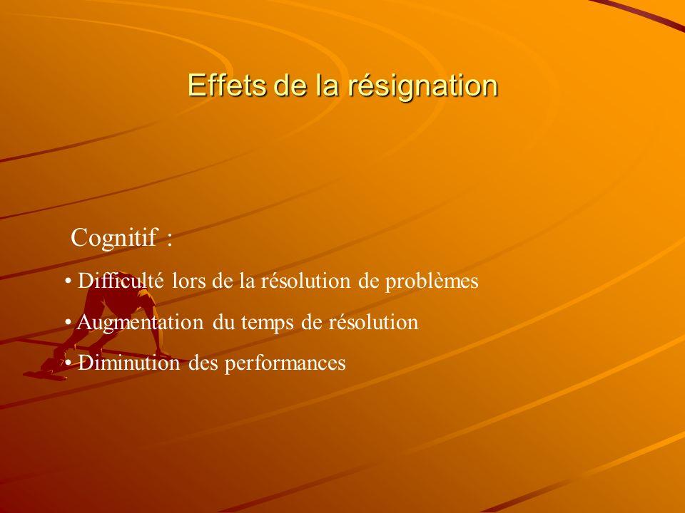 Résignation apprise lhomme Hiroto, 1974 Tâches instrumentales