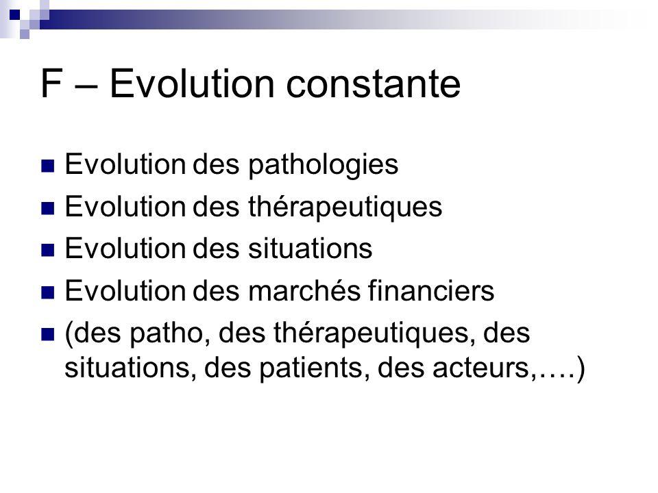 F – Evolution constante Evolution des pathologies Evolution des thérapeutiques Evolution des situations Evolution des marchés financiers (des patho, d