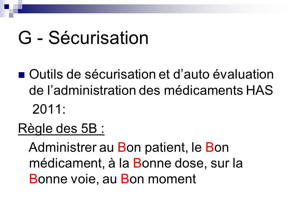 G - Sécurisation Outils de sécurisation et dauto évaluation de ladministration des médicaments HAS 2011: Règle des 5B : Administrer au Bon patient, le