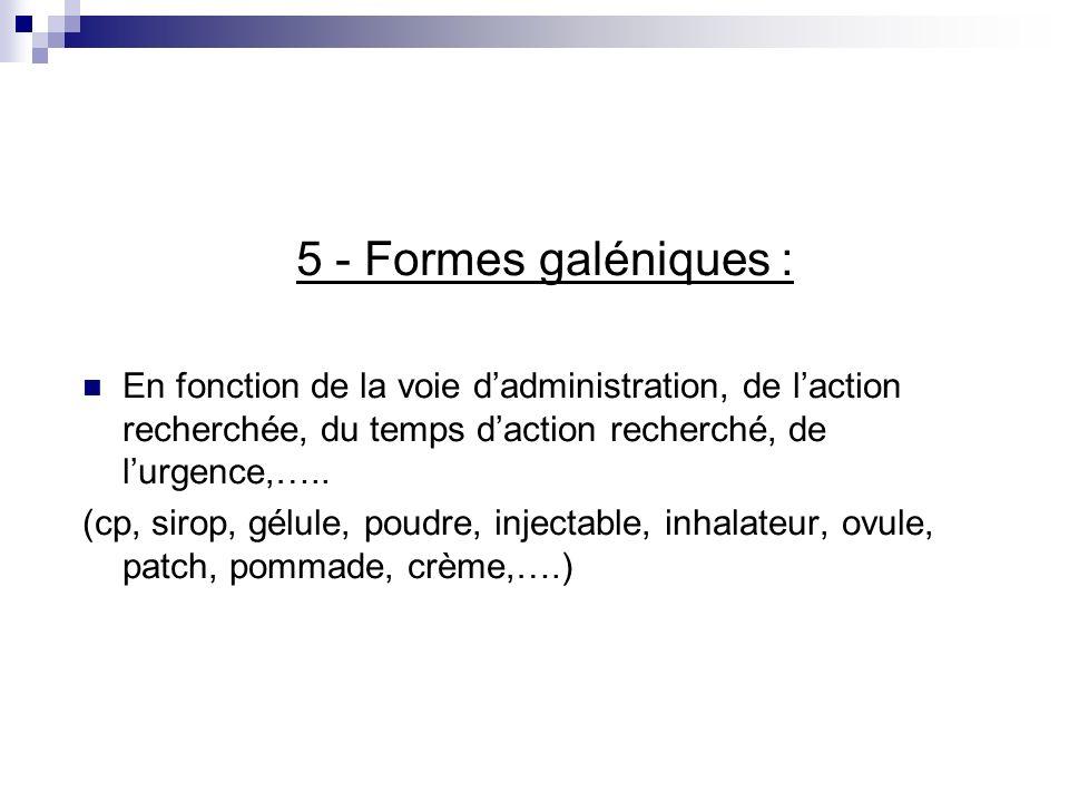 5 - Formes galéniques : En fonction de la voie dadministration, de laction recherchée, du temps daction recherché, de lurgence,….. (cp, sirop, gélule,