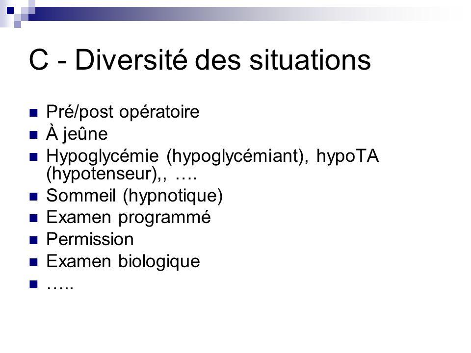 C - Diversité des situations Pré/post opératoire À jeûne Hypoglycémie (hypoglycémiant), hypoTA (hypotenseur),, …. Sommeil (hypnotique) Examen programm