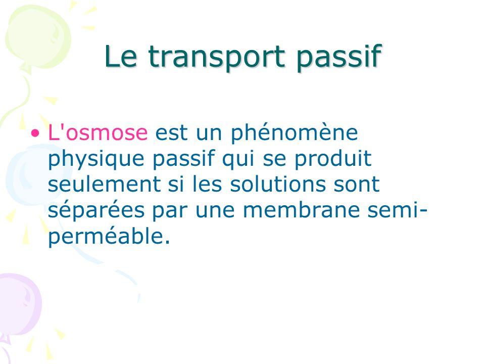 Le transport passif L'osmose est un phénomène physique passif qui se produit seulement si les solutions sont séparées par une membrane semi- perméable