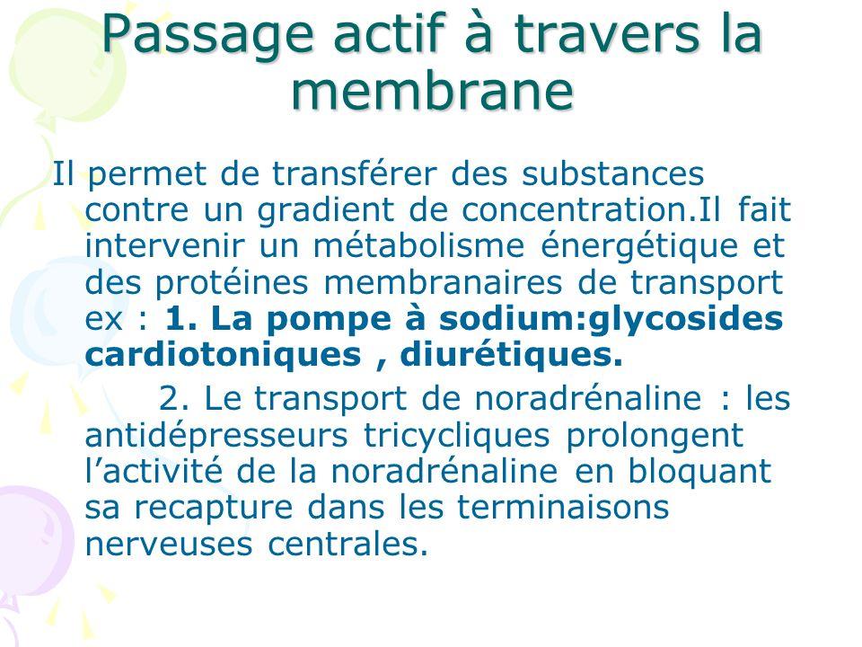 Passage actif à travers la membrane Il permet de transférer des substances contre un gradient de concentration.Il fait intervenir un métabolisme énerg