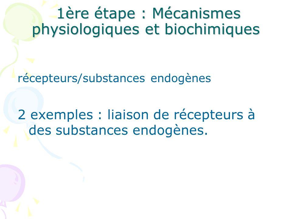 1ère étape : Mécanismes physiologiques et biochimiques 1ère étape : Mécanismes physiologiques et biochimiques récepteurs/substances endogènes 2 exempl