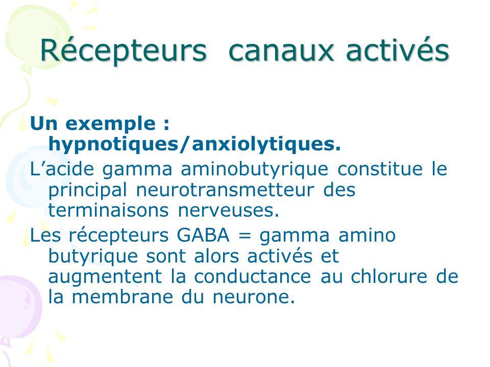 Récepteurs canaux activés Un exemple : hypnotiques/anxiolytiques. Lacide gamma aminobutyrique constitue le principal neurotransmetteur des terminaison