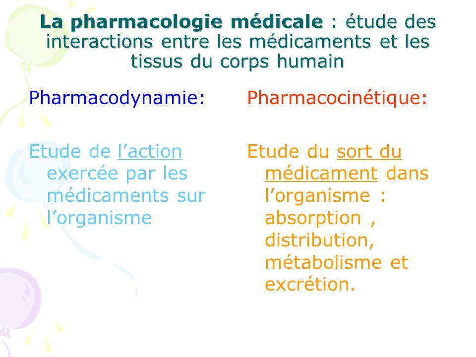 La pharmacologie médicale : étude des interactions entre les médicaments et les tissus du corps humain Pharmacodynamie: Etude de laction exercée par l