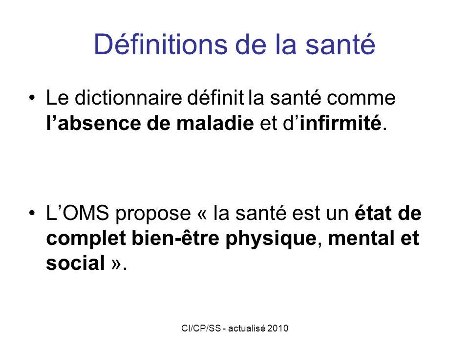 CI/CP/SS - actualisé 2010 Aujourdhui Il est important de considérer lindividu dans son rapport avec lenvironnement pour donner une définition de la santé.