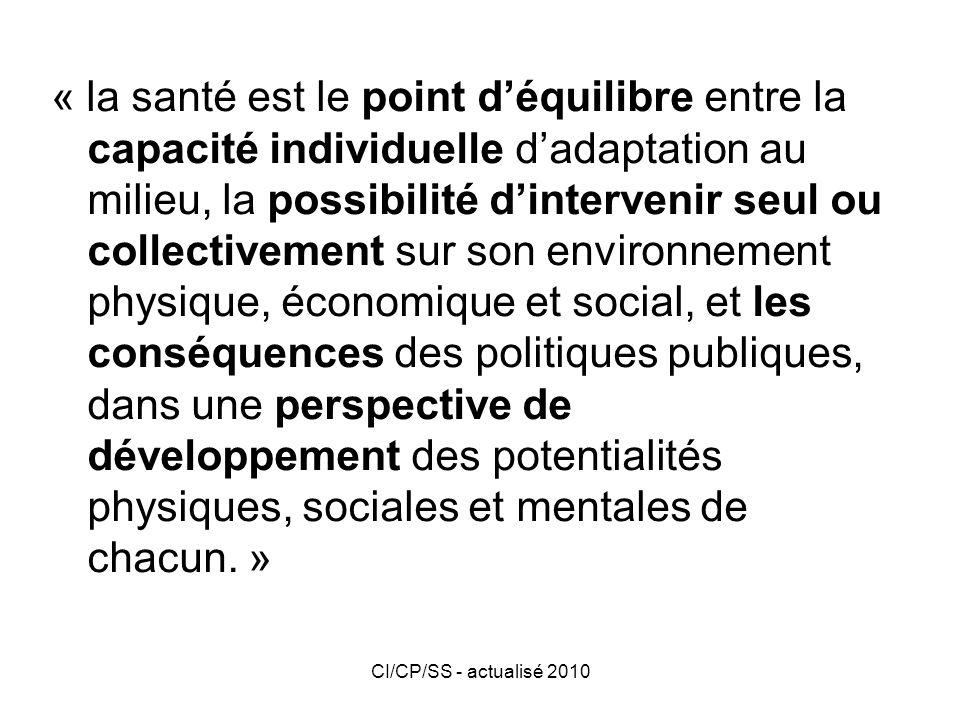 CI/CP/SS - actualisé 2010 Les déterminants de la santé La santé et la maladie de lindividu ou de la communauté sont multifactorielles.