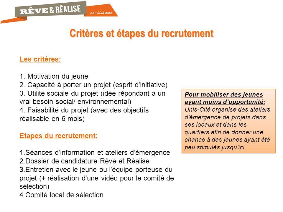 Critères et étapes du recrutement Les critéres: 1.