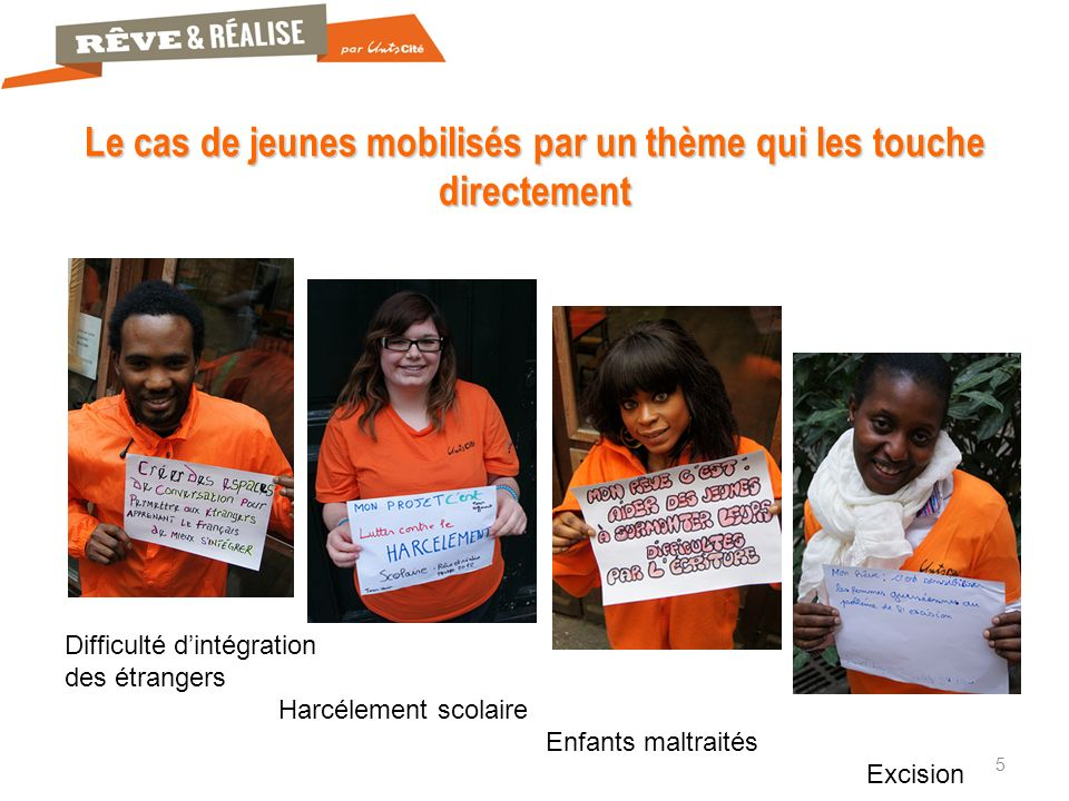 5 Le cas de jeunes mobilisés par un thème qui les touche directement Difficulté dintégration des étrangers Harcélement scolaire Enfants maltraités Excision