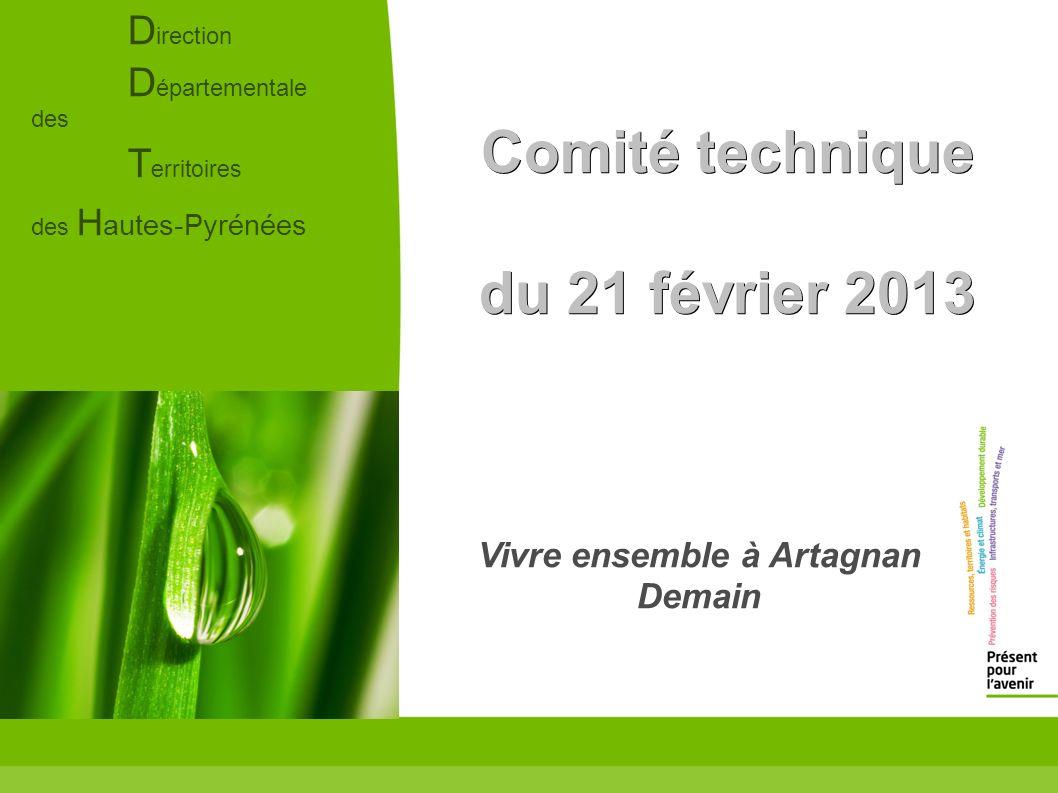 D irection D épartementale des T erritoires des H autes-Pyrénées Comité technique du 21 février 2013 Vivre ensemble à Artagnan Demain