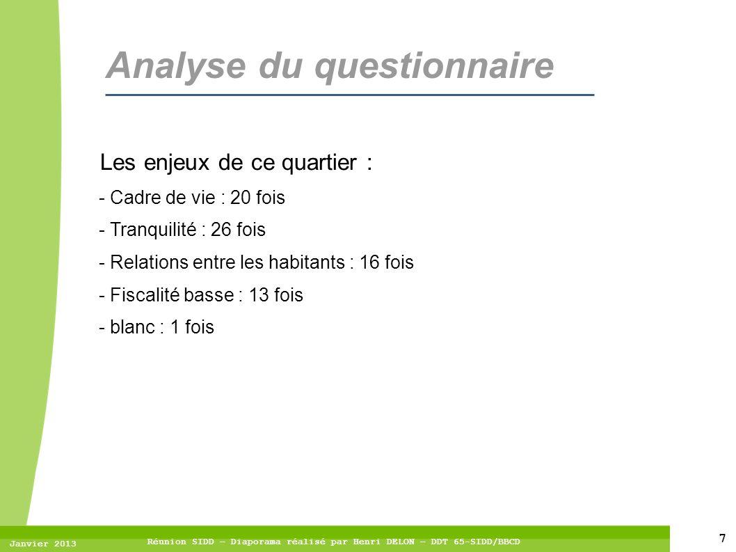 7 Janvier 2013 Réunion SIDD – Diaporama réalisé par Henri DELON – DDT 65-SIDD/BBCD Analyse du questionnaire Les enjeux de ce quartier : - Cadre de vie