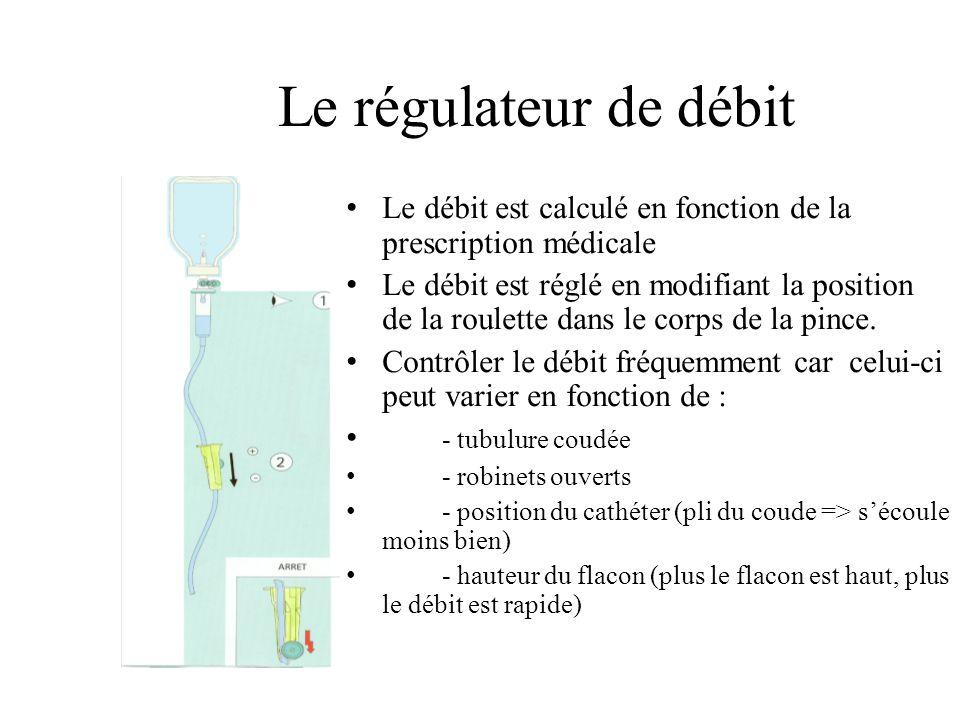 Le régulateur de débit Le débit est calculé en fonction de la prescription médicale Le débit est réglé en modifiant la position de la roulette dans le