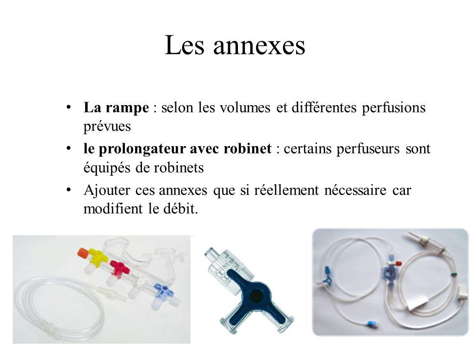 Les annexes La rampe : selon les volumes et différentes perfusions prévues le prolongateur avec robinet : certains perfuseurs sont équipés de robinets