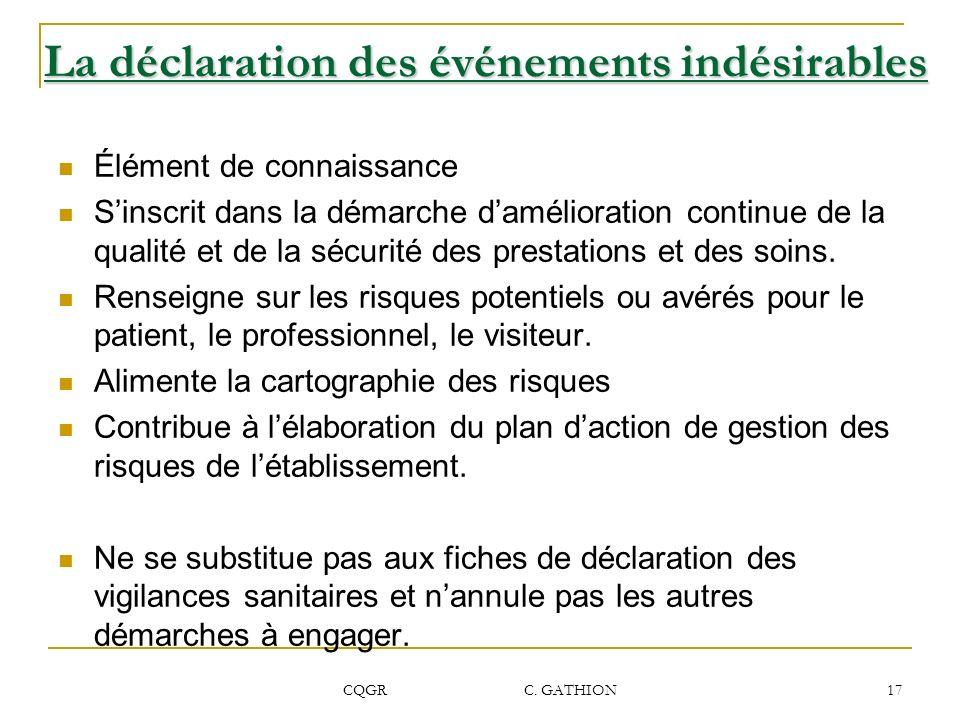 CQGR C. GATHION 17 La déclaration des événements indésirables Élément de connaissance Sinscrit dans la démarche damélioration continue de la qualité e