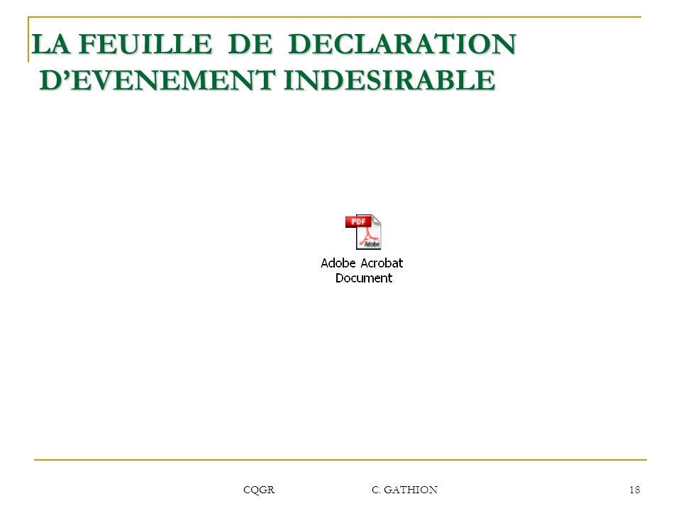 CQGR C. GATHION 18 LA FEUILLE DE DECLARATION DEVENEMENT INDESIRABLE DEVENEMENT INDESIRABLE