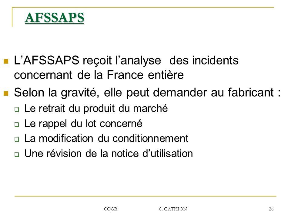 CQGR C. GATHION 26 AFSSAPS LAFSSAPS reçoit lanalyse des incidents concernant de la France entière Selon la gravité, elle peut demander au fabricant :