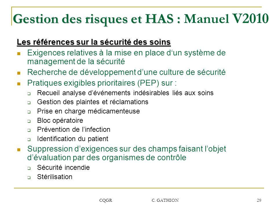 CQGR C. GATHION 29 Gestion des risques et HAS : Gestion des risques et HAS : Manuel V2010 Les références sur la sécurité des soins Exigences relatives