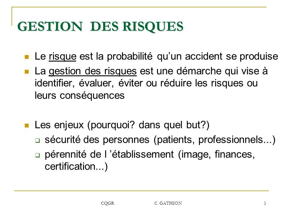 CQGR C. GATHION 3 GESTION DES RISQUES Le risque est la probabilité quun accident se produise La gestion des risques est une démarche qui vise à identi
