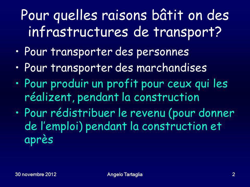 30 novembre 2012Angelo Tartaglia2 Pour quelles raisons bâtit on des infrastructures de transport.