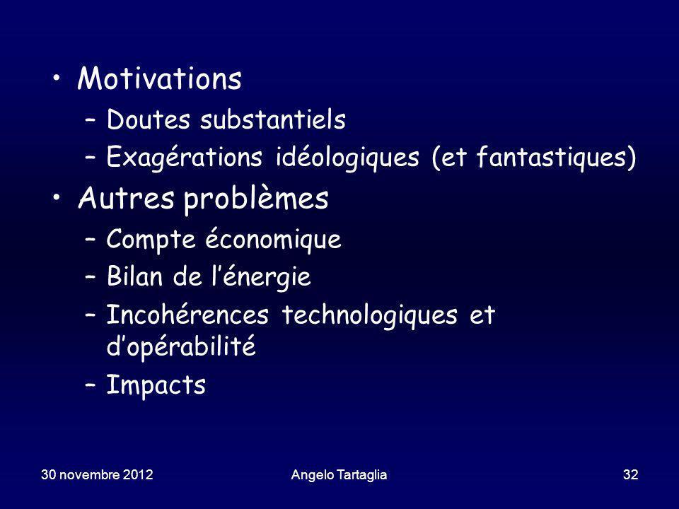 Angelo Tartaglia32 Motivations –Doutes substantiels –Exagérations idéologiques (et fantastiques) Autres problèmes –Compte économique –Bilan de lénergie –Incohérences technologiques et dopérabilité –Impacts