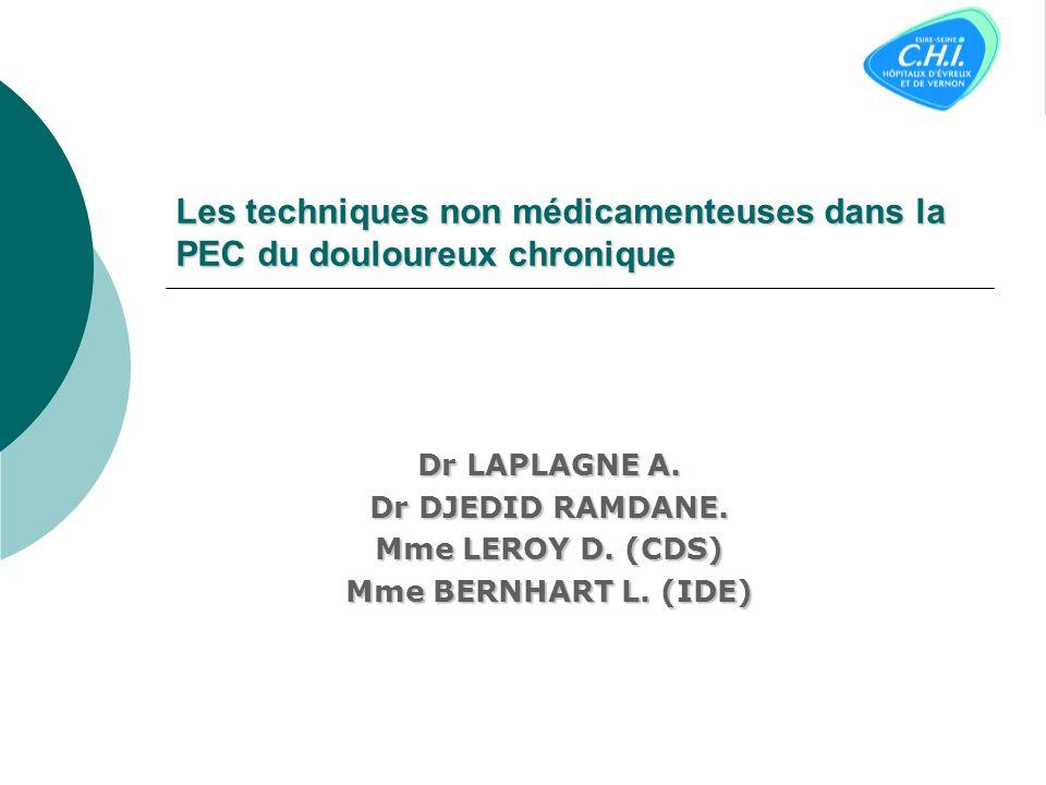 Les techniques non médicamenteuses dans la PEC du douloureux chronique Dr LAPLAGNE A.