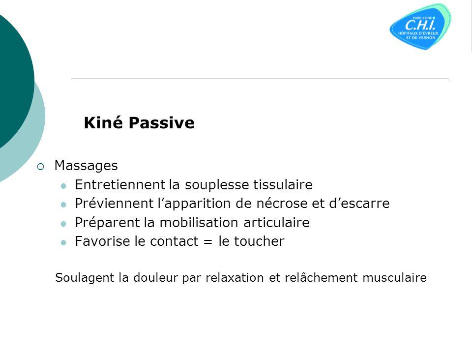 Kiné Passive Massages Entretiennent la souplesse tissulaire Préviennent lapparition de nécrose et descarre Préparent la mobilisation articulaire Favorise le contact = le toucher Soulagent la douleur par relaxation et relâchement musculaire