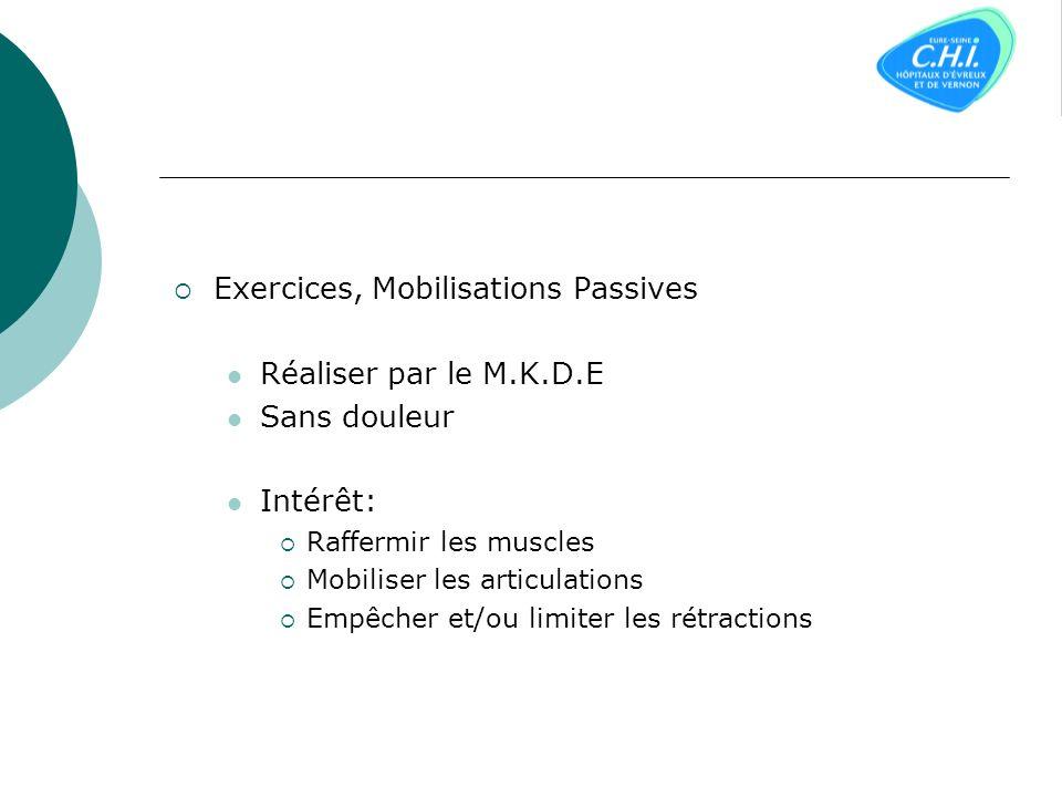 Exercices, Mobilisations Passives Réaliser par le M.K.D.E Sans douleur Intérêt: Raffermir les muscles Mobiliser les articulations Empêcher et/ou limiter les rétractions